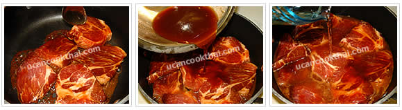 Preparation for Sweet & Sour Pork with Honey: No.4 Arrange marinated pork in a pot on medium heat, pour sauce and add enough water to cover