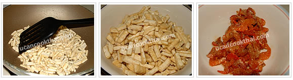 Preparation for Pad Thai: Fry pressed tofu until lightly brown and set asid. Fried dried shrimp until crispy and set aside