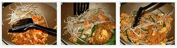 Preparation for Pad Thai: When set, return noodles, add prawns, mung bean sprouts, Chinese chives, then mix together