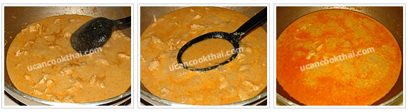 Preparation for curry sauce: Let the mixture simmer for 10 minutes, add water, season, bring to boil and remove from heat