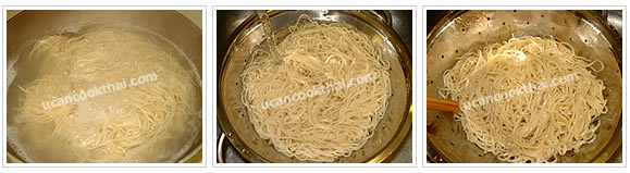 Preparation for side serving: Boil water, separate egg noodle loosely then add into boiled water until cook. Drain and rinse in cold water. Then add about 2 Tbsp vegetable oil, and mix thoroughly
