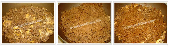 Preparation for stir-fried rice noodles with dark soy sauce: When set, return the pork and mix together. Add small rice noodles with dark soy sauce and stir well