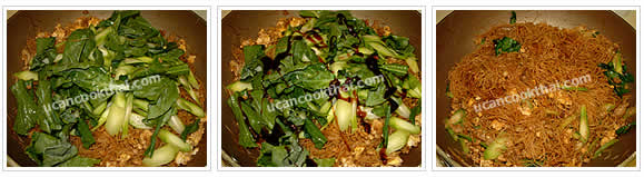 Preparation for stir-fried rice noodles with dark soy sauce: Add Chinese broccoli and 1 tbsp oyster sauce, stir thoroughly, then remove from heat