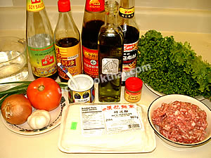 Wide Rice Noodles with Ground Pork Sauce Ingredients