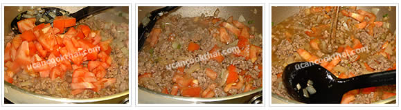 Preparation for Wide Rice Noodles with Ground Pork Sauce: Stir fry all ingredients until the ground pork is cooked. Add cut tomato, stir until the tomato is cooked, then add water