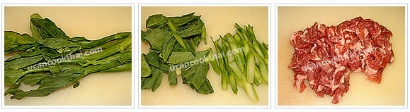 Preparation for stir-freid spicy wide rice noodles: No.3 Wash Chinese broccoli, cut leaves into 2