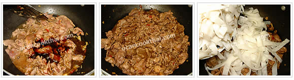 Preparation for stir-fried spicy wide rice noodles: No.5 Season with oyster sauce, thin soy sauce, seasoning soy sauce and sugar, stir well until the pork is cooked, then add wide rice noodles