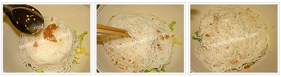 Preparation for Small Rice Noodle with Pork Balls: No.5 Add fried minced garlic to rice noodle, stir thoroughly, and set aside