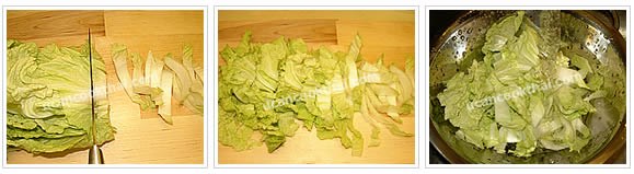Preparation for Stir-fried Yellow Noodles: No.2 Coarsely slice Chinese cabbages, wash and pat dry