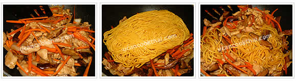 Preparation for Stir-fried Yellow Noodles: No.7 Stir fry to mix well, add yellow noodles and mix together