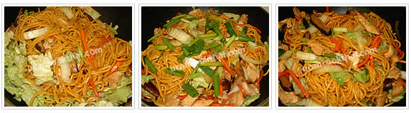 Preparation for Stir-fried Yellow Noodles: No.8 Add cabbages, stir well, then add green onion, mix thoroughly and remove from heat