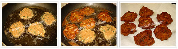 Preparation for Fried Fish Cake: No.5 Fry fish paste about 2 Tbsp in round shape eash side until cook, remove from oil, and drain on paper towel