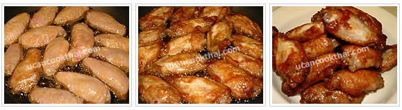 Preparation for Chicken Wingette Red Stewed Sauce: No.4 Deep-fry chicken wingettes until golden brown and crisp
