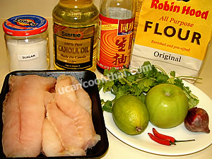 Fried Fish Apple Salad Ingredients: Fish fillet, flour, apple, shallot, lime juice, fish sauce, sugar, chillies, cilantro, oil