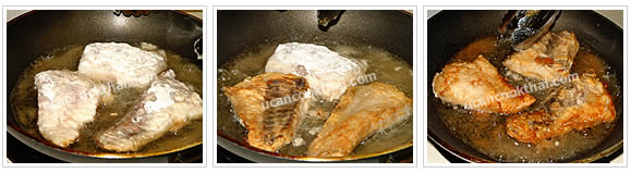 Preparation for Fried Fish Apple Salad: No.2 Heat oil in a wok on medium-high heat, when oil is hot, add fish fillets to fry