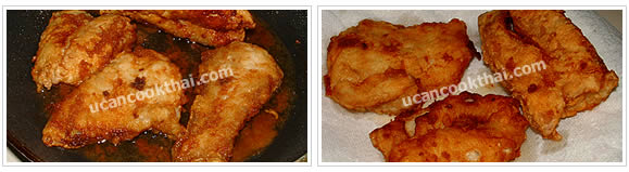 Preparation for Fried Fish Apple Salad: No.3 Fry until each side is golden brown and crisp, drain on paper towel