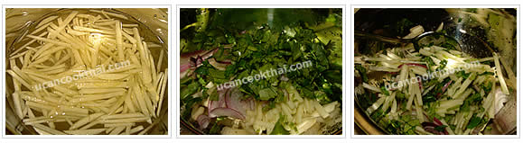 Preparation for Fried Fish Apple Salad: No.6 Mix shredded apple with sliced shallot and cilantro, then toss together
