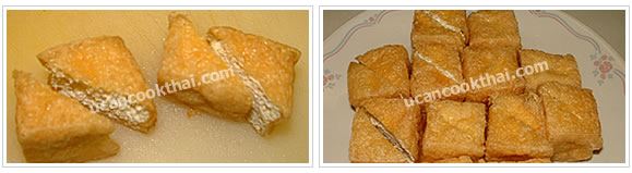 Preparation for fried tofu with prawn sauce: When fried tofu puff is cool, cut in half along diagonal, and arrange on a serving plate