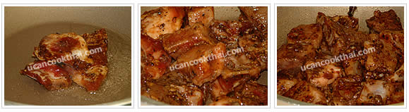 Preparation for fried pork rib: Heat oil, add marinated pork rips, and fry until the rips are getting cook