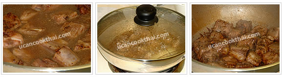 Preparation for fried pork rib: When the ribs are cooked, add about 1 cup water, stir well, cover the wok, bring to boil, and simmer until much of the water evaporates, stir occasionally