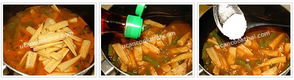 Preparation for Kaeng Pa: No.9 Add baby corn, stir well, season with fish sauce and sugar, then mix well