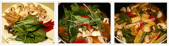 Preparation for Kaeng Pa: No.10 Add mushrooms, long cayenne pepper, krachai, young pepper corn, and sweet basil leaves, stir well
