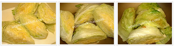 Preparation for head lettuce stewed: Cut head lettuce in quarter, heat oil, add head lettuce and allow eash side to cook