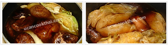 Preparation for head lettuce stewed: Reduce heat to low, season, stir well and simmer for 2-3 hours