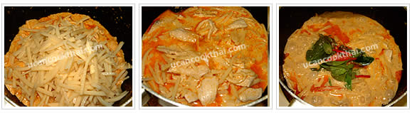 Preparation for chicken red curry: Add shredded bamboo shoots, stir well, add remaining coconut milk, season, bring to boil, add kaffir lime leaves, sweet basil leaves and sliced chillies, stir quickly and remove from heat