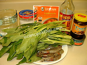Hot and Sour Curry with Water Spinach & Prawns Ingredients: Water Spinach, prawns, hot and sour curry paste, tuna, tamirind paste, sugar, fish sauce