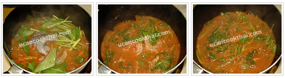 Preparation for Hot and Sour Curry: No.5 Add prawns, stir thoroughly, then remove from heat