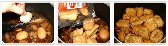 Preparation for Sweet Stewed Egg & Pork: No. 6 Add palm sugar, stir until dissolve, add tofu puff and simmer for 30 minutes