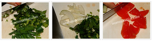 Preparation for spicy pork roll salad: Prepare vegatables for spicy pork roll salad