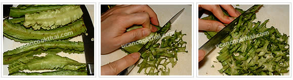 Preparation for spicy winged beans salad: wash and sliced winged bean