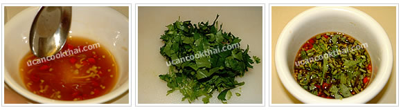 Preparation for spicy dressing: Add sliced chillies and cilantro, taste for sweet, salty, and sour flavour