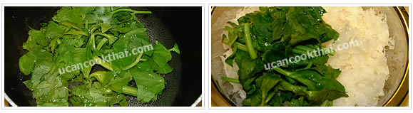 Preparation for White Fungus Spicy Salad: No.4 Boil water again, scald Chinese celery for 1 minute, drain and set aside