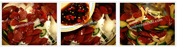 Preparation for Chinese Sausage Spicy Salad: No.5 Put sliced onion, cucumber, Chinese sausages and dressing in a mixing bowl, toss to mix well