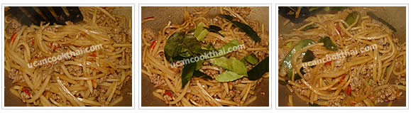 Preparation for Stir-fried Spicy Ground Pork with Bamboo Shoots: No.6 Add kaffir lime leaves, mix well and remove from heat