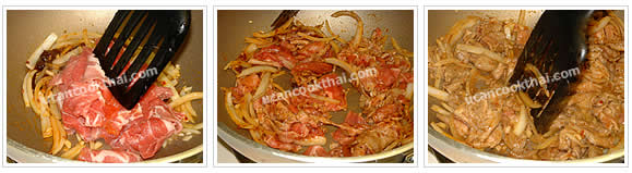 Preparation for stir-fried sliced pork with roasted chillie paste: Stir well, add sliced pork, mix thoroughly, then season with thin soy sauce and sugar