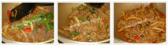 Preparation for stir-fried sliced pork with roasted chillie paste: Add green onion and sliced chillies, stir well, and remove from heat