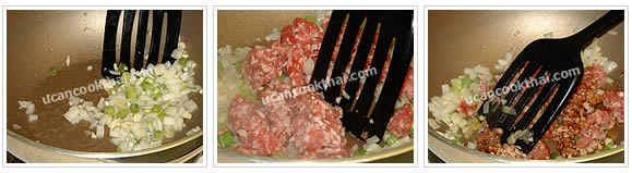 Preparation for ground pork sauce: Heat oil, add mince garlic and chop onion, fry until fragrant, then add ground pork