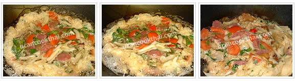 Preparation for stir-fried fermented pork sausage and egg: Heat oil, pour mixture in a wok, wait until the egg is getting cook, then stir fry until tomato is soft