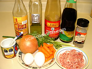 Stir-fried ground wrapped with fried beaten egg ingredients: ground pork, eggs, vegetable, and sauces