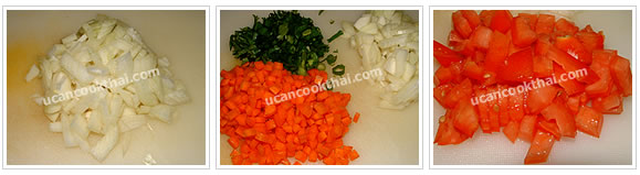Preparation for stir-fried ground pork wrapped with fried beaten egg: Cut onion and carrot into small cubes, finely slice green onion and cilantro, and cut tomato into small pieces