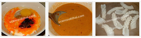 Preparation for stir-fried seafood with curry powder: Prepare mixture by mixing egg, milk, curry powder, sauces, and roasted chillie paste, then scald squid