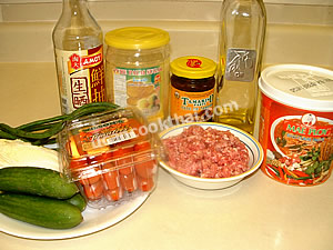 Pork & Tomato Chillie Dip Ingredients: ground pork, red chillie paste, grape tomato, tamarind paste, palm sugar, thin soy sauce