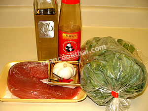 Chinese broccoli with oyster sauce ingredients: Chinese broccoli, pork tenderloin, garlic, chillie, oyster