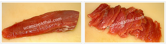Preparation for Chinese borccoli with oyster sauce: Clean pork tenderloin, pat dry, and slice into small pieces