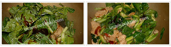 Preparation for Chinese broccoli with oyster sauce: Add Chinese broccoli and oyster sauce, stir-fry until Chinese broccoli are getting soft, then remove from heat