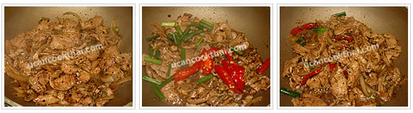 Preparation for pork with black pepper: No.6 Stir well until pork is cooked, add sliced long cayenne pepper and cut green onion, mix well and remove from heat